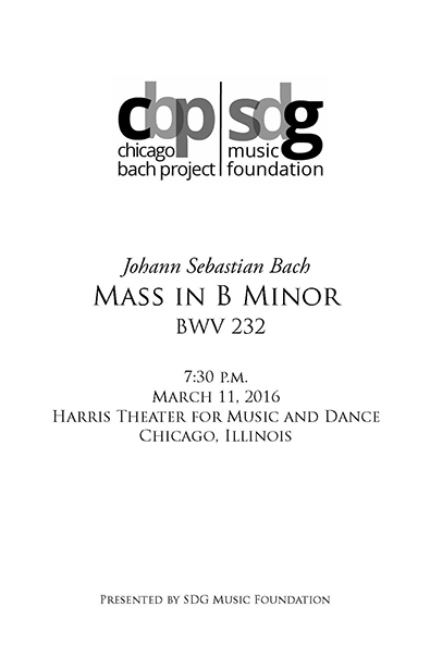 Mass in B Minor program book